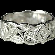 Wide Art Deco Diamond Wedding Band