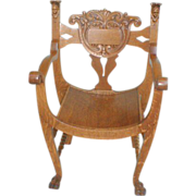 SALE Oak Throne Chair with Carved Heads and Backrest