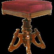 Victorian Piano Stool / Vanity Stool with Velvet Padded Seat