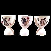 SALE Charming Porcelain Egg Cups - Set of 3