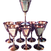 SALE Set Of 8 F.B. Rogers Silver Plated Wine/Champagne Goblets
