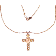 Beautifully Ornate Cross with Rose Necklace