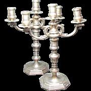 Birks Sterling Silver Candelabra Vintage 1697 C.1930's  Weighted Pair