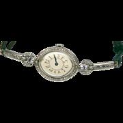 Art Deco Old Miner Diamond Platinum French Vintage Wrist Watch Women Runs