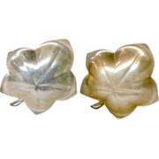 Tiffany & Co. Sterling Silver Footed Leaf Dish Pair Vintage