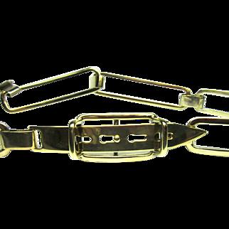 Vintage Ralph Lauren Sterling Silver Belt Italy Gold Washed 1348 O