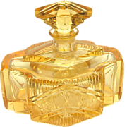 Cut Glass Perfume Art Deco Vintage Crystal Scent Large Gold Amber