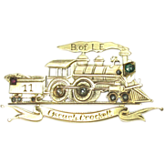B Of L.E. Diamond Pin Emerald Ruby 14k Gold Railroad Locomotive Vintage