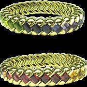 Multi Stone Rainbow Bracelet Bangle Heavy 18k Gold Tourmaline Citrine 1372 Y