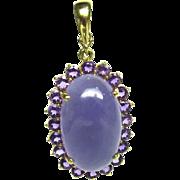 Lavender Jadeite Amethyst Pendant Necklace 14k Gold Purple Jade 1389 O