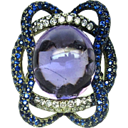 Amethyst Ring Sapphire Diamond Cocktail 18k White Gold Size 6.75 Statement 1391C