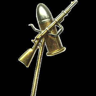 Rifle Bullet Stick Pin K. Co. 7th N.G. Jr Prize 14k Gold Vintage War 952 P