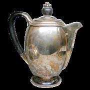 1950's C.C. Hermann Denmark Sterling Silver Ebony Coffee Tea Pot