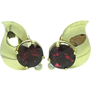 Pierre Pink Tourmaline Diamond Earrings Rubellite 14k Gold Pierced 1970's