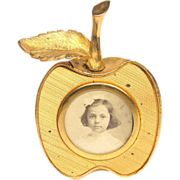 Vintage Apple Photograph Frame Picture Gold Tone