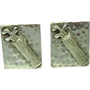 Golfing Cufflinks Sterling Silver Mid Century Vintage Mens Sports NA 860