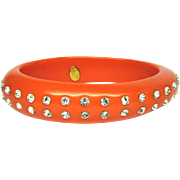 Kenneth Lane Bangle Bracelet Lucite Orange Rhinestone Plastic Vintage NA 908W