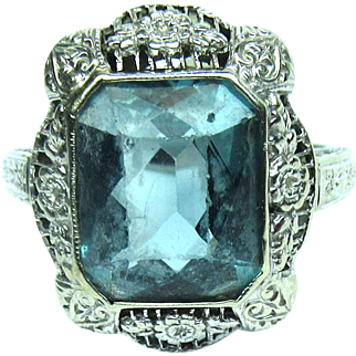 Synthetic Blue Zircon Ring Art Deco 14k White Gold Size 8 Vintage NA 912 W