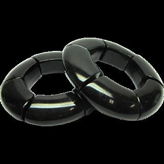 Black lucite Chunky Bangle Bracelet Lacquer Vintage Runway Retro Pair (2) NA913R