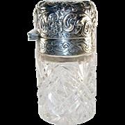 Ornate Perfume Bottle, Repousse Sterling Silver Top, Brilliant Cut Glass, Antique