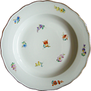 Pair Authentic MEISSEN Strewn Scattered Flowers Dinner Plates Crossed Swords
