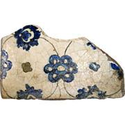 REDUCED Ancient Iznik or Islamic Blue Flower Tile Fragment c. 12th C.