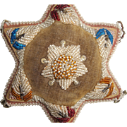 SOLD Beaded STAR Pin Cushion Pillow Native American Indian Iroquois Antique
