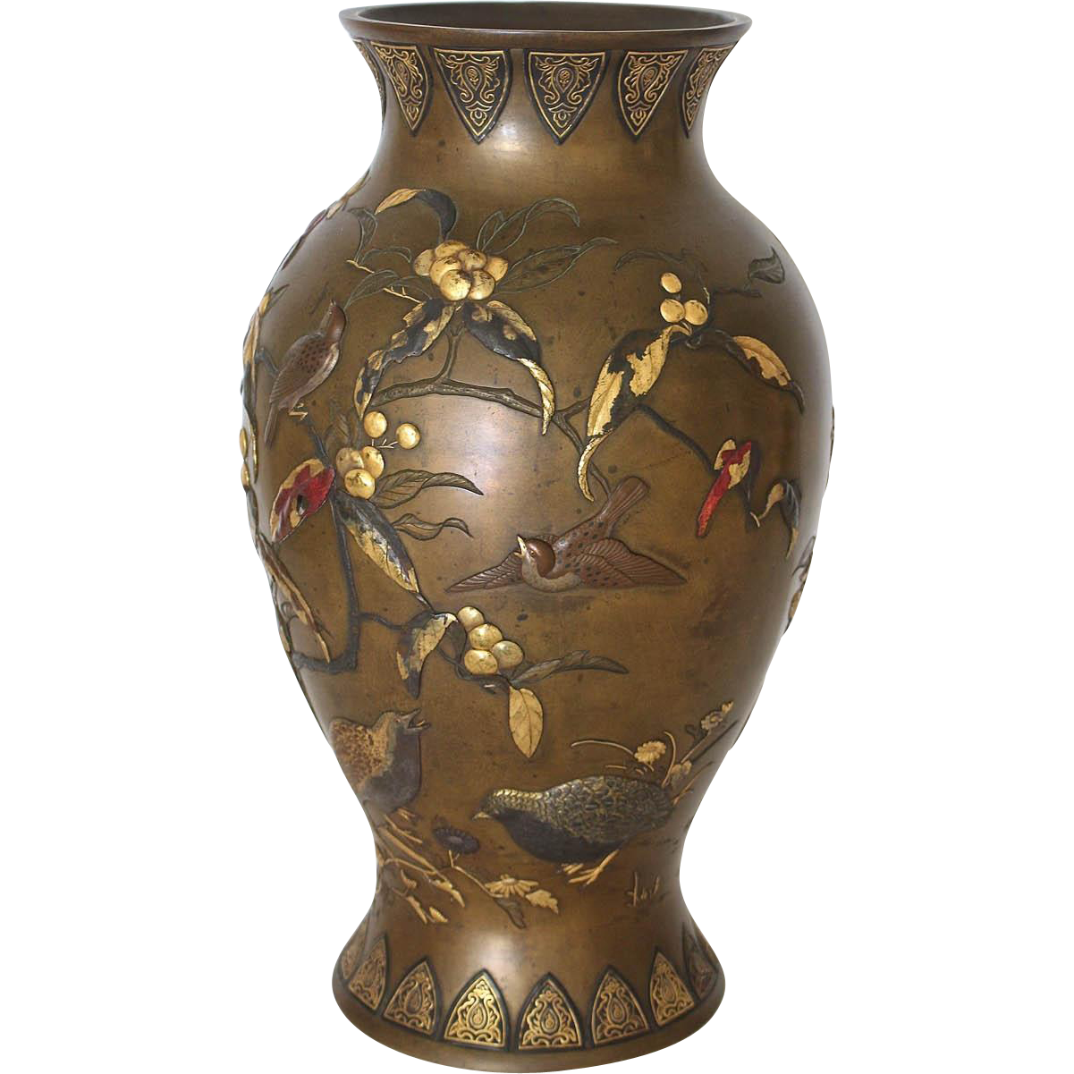 Magnificent Meiji Period Japanese Mixed Metal Bronze Vase From