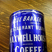 Vintage Large Old Maxwell House Blue Banner 15 lbs Coffee Key Opened Tin Can