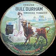 "Vintage Bull Durham Advertising Tobacco Tray - 24"" diameter - Rare Find"