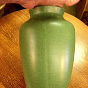Vintage Arts and Craft Green Matt pottery vase w. Fulper trademark