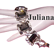 JULIANA Bold Beautiful Black Diamond & Crystal Clear Rhinestone & Glass 5 Link Bracelet