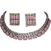 Pink Glass & Rhinestone Necklace + Earrings
