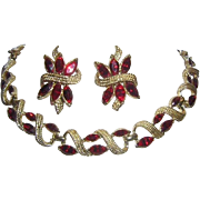 1950's CORO Pegasus Ruby Red Marquise Rhinestones Necklace & Earrings