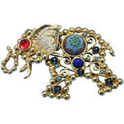 SALE JULIANA Moroccan Matrix & Colorful Glass Figural Elephant Pin / Necklace Book Piece
