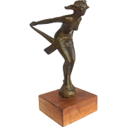 Art Deco Bronze Diving Female Nude Figure