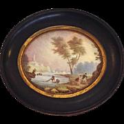 Porcelain Plaque Hand Painted Landscape 19thc.