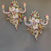 Pair Floral Porcelain Wall Sconces-  19th Century German