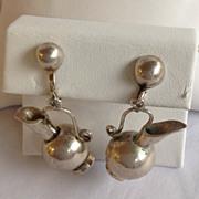 Spratling Silver Pitcher Earrings 1950's