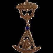 Vintage 10K Gold Large Two Part Masonic Pin