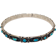 Native American Turquoise And Silver Bangle Bracelet