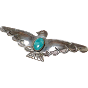 Native American Turquoise Silver Eagle Pin