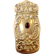 SOLD Goldplated Vesta With Garnet Cabochon c.1900