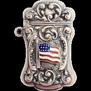 American Sterling Vesta With Enamel American Flag