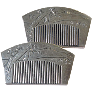 Pair Of Japanese Comb 950 Silver Salt and Peppers