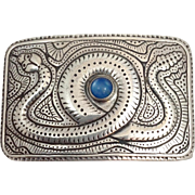 Native American Moonstone And Sterling Serpent Belt Buckle