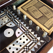 Antique Cribbage Set Rosewood and Mother Of Pearl