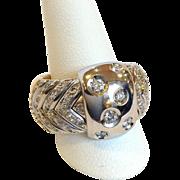 Diamond Chevron Ring Italy 18k Weighing 18 Grams