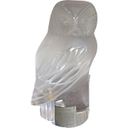 Lalique Owl Frosted Glass Figurine