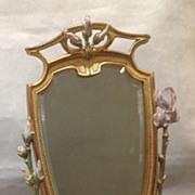 Wonderful Art Nouveau Dresser Mirror with Painted Flowers
